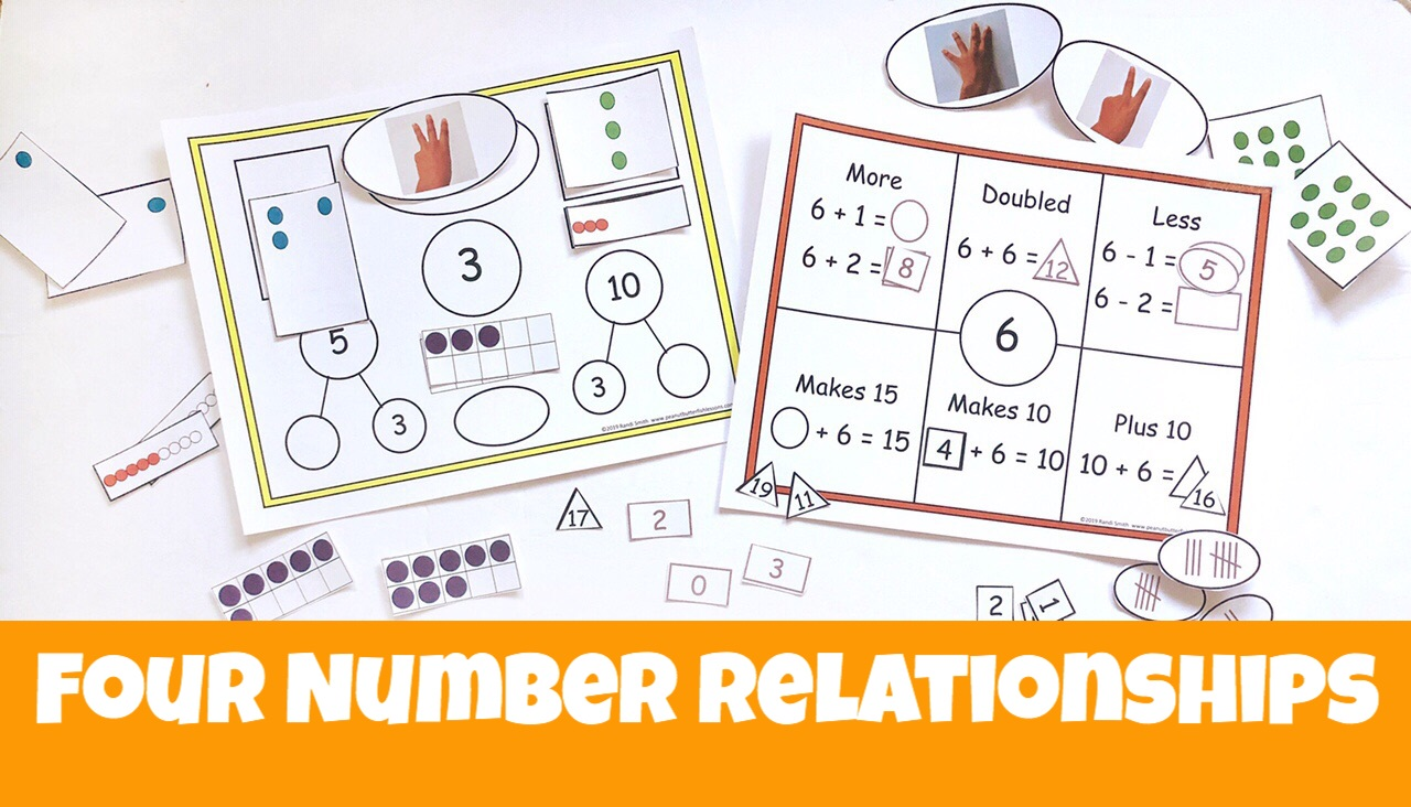 Cover for blog post Four Number Relationships showing printables with the four relationships.