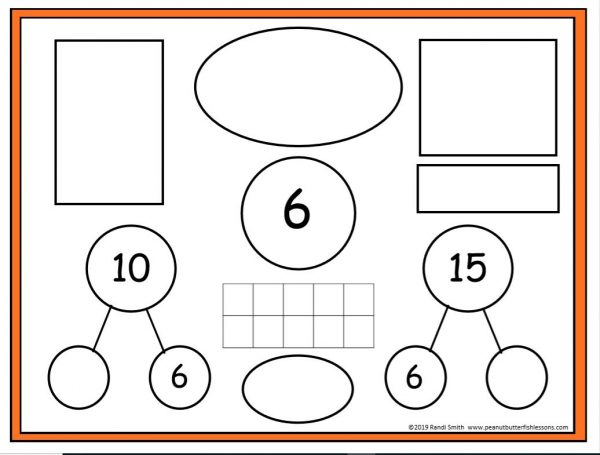 Level 1 Number Sense Sorting Mat for the numer 6, with places to put subitizing cards and complete part part whole circles for make 10 and 15