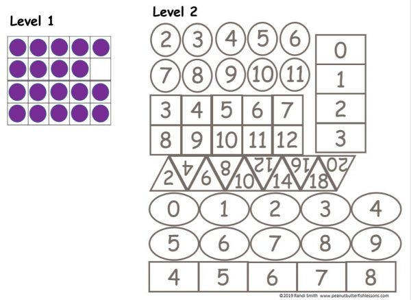 Cards to be used with the Level 2 Number Sense Sorting Mats. Cards consist of different shapes with numbers in them.
