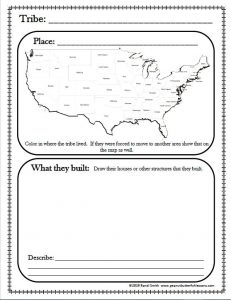 First page of printable Native American notebooking pages. Shows US map and space to draw Native American buildings.