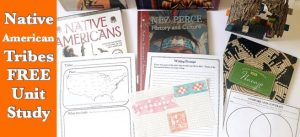 Cover for post Native American Tribes FREE Unit Study showing books, notebooking pages, and projects.