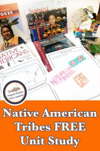 Pinnable cover for blog post Native American Tribes FREE Unit Study showing books, projects and printable notebooking pages.
