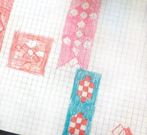 Seminole patterns colored on graph paper.