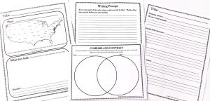 Printable notebooking pages including a map, a Venn diagram, a writing prompt and sections for notes.