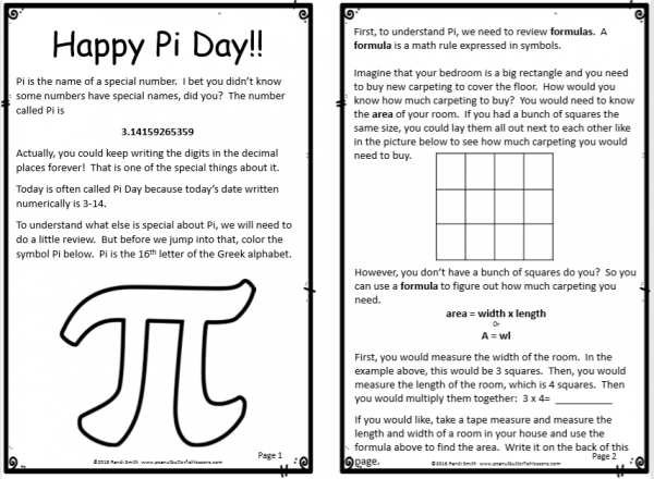 First two pages of Pi Day Hands on Activity Booklet.