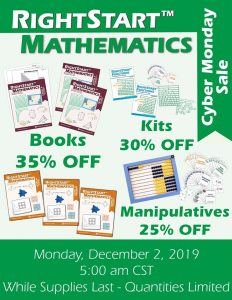 RightStart Math Cyber Monday graphic showing 35% off books, 30% off kits, and 25% off manipulatives.