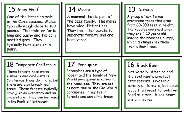 Back of 6 vocabulary cards showing definitions.