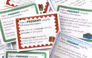 Printable task cards with colored borders and measurement for how to make the present.