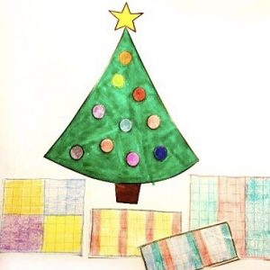 colored in Christmas tree with presents around the base made from graph paper.