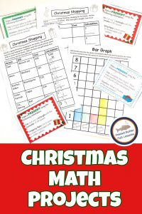 Pinnable cover image for blog post Christmas Math Projects showing some math printables.