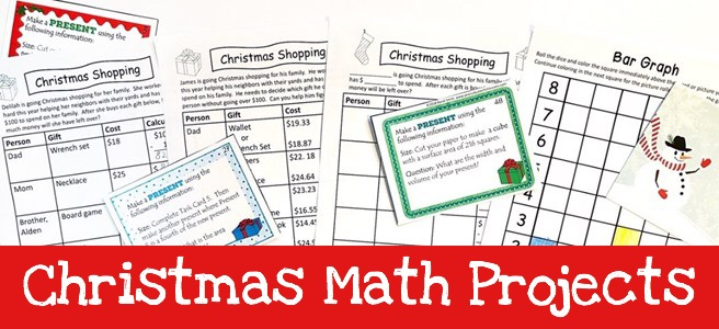 Cover image for blog post Christmas Math Projects showing printables that can be used with projects.