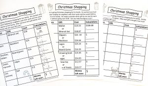 Three levels of printable math activity Christmas shopping.
