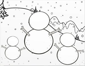 Printable of snowy background with three different sized blank snowmen in the foreground.