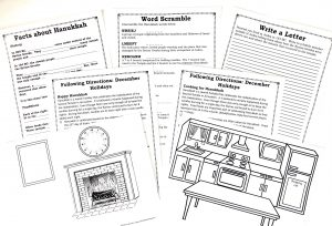 7 printable pages about Hanukkah: fill-in-the-blank, word scramble, writing prompt, 2 pages of following directions with accompnanying pictures.