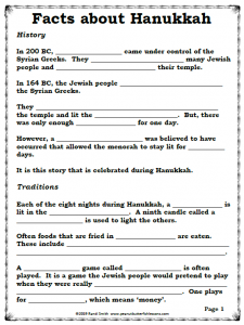 Fill-in-the-blank page titled Facts About Hanukkah