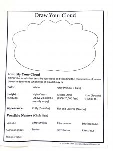 Printed cloud notebooking page with a space to draw your cloud and questions to answer to help determine what type of cloud it is.