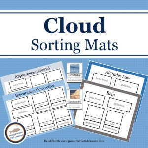 Cover for Cloud Sorting Mats Product showing title and pictures of four mats and two of the matching cards.