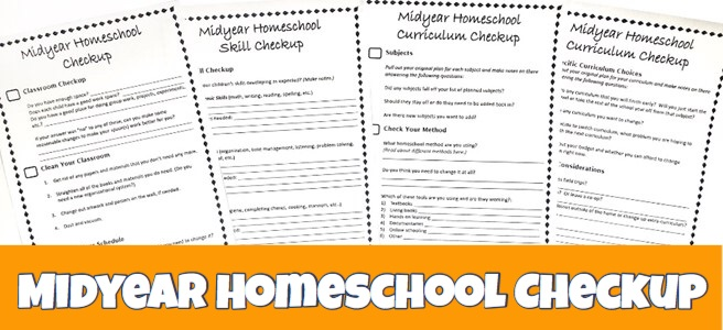 Cover for blog post Midyear Homeschool Checkup showing 4 printable pages of checklists.