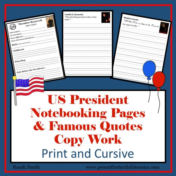 Product cover showing samples of printable pages and the title US President Notebooking Pages and Famous Quotes Copy Work Print and Cursive