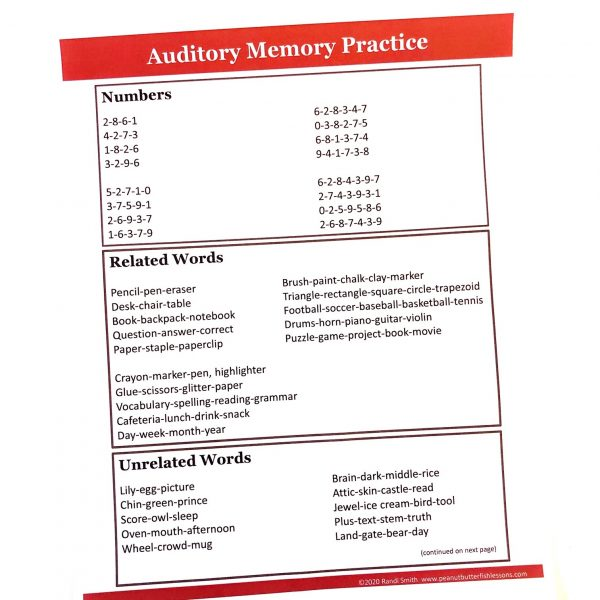 Printed page of auditory memory practice of numbers and words.
