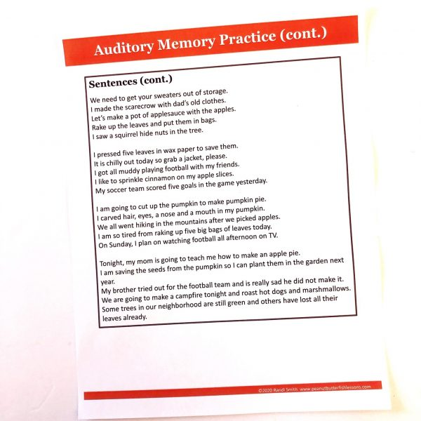 Printed auditory memory practice for sentences.