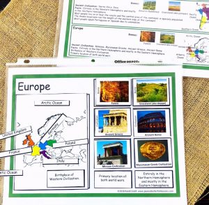 Sorting mat for Europe showing a map of Europe, colorful pictures, and written facts laid upon it.