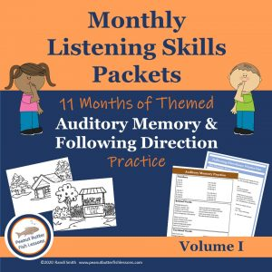 Cover for Monthly Listening Skills Practice Volume I with text, pictures of printables and children graphics.