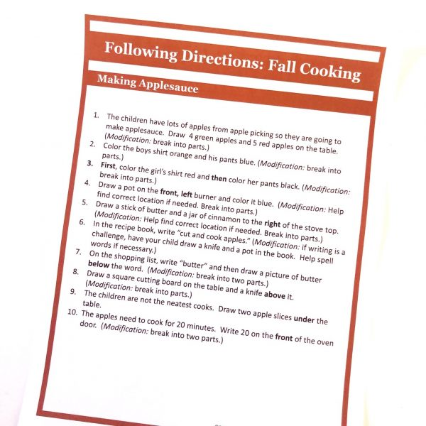 Printed set of directions for Fall Cooking scene.