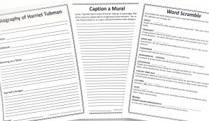Printable Harriet Tubman notebooking page, word scramble and writing prompt for unit study.