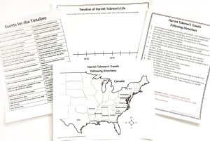 Printable pages for Harriet Tubman timeline activity and following direction activity.
