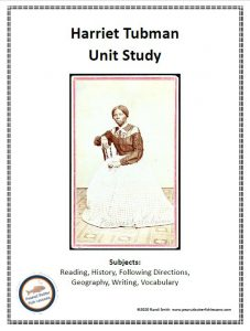 Printable cover for Harriet Tubman unit study showing a picture of her sitting for a photographer and listing the subjects covered in the unit study.