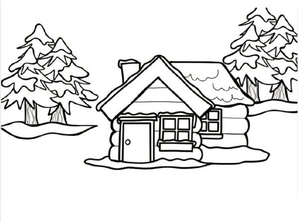Black and white drawing of a winter scene iwth house and trees.