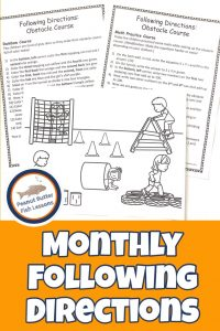 Pinnable image for Monthly Following Directions page showing two sets of printed directions and the picture.