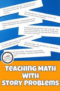 Pinnable cover for blog post Teaching Math With Story Problems showing printed math word problems.