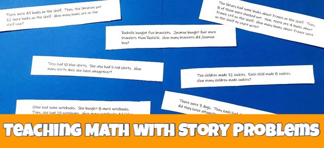 Cover for blog post Teaching Math With Story Problems showing printed math word problems.