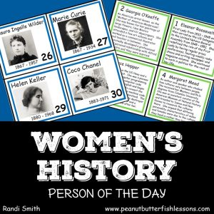 Cover for Women's History Person of the Day cards.
