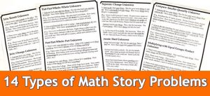Cover for blog post 14 Types of Math Story Problems showing printable math story problem templates.