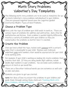 Instruction page of printable Valentine's Day Math Story Problems.