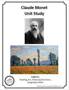 Cover of printale unit study showing Claude Monet's picture and one of his paintings.