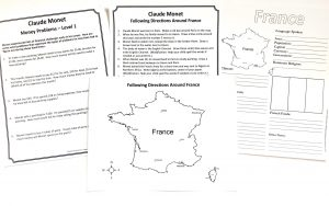 Printable pages about France and word problems.