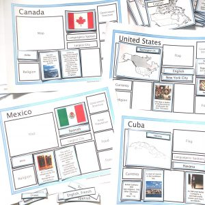 Countries of the World Sorting Mats: North America