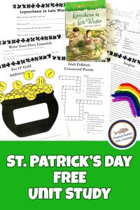 Pinnable St. Patrick's Day FREE Unit Study cover showing printables, book, and clay rainbow.