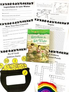 Printable unit study pages and Leprechaun in Late Winter book.