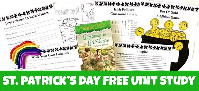 St. Patrick's Day FREE Unit Study cover showing printables, book, and clay rainbow.