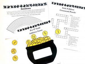 Printable activity pages and a pot of gold printable math game.