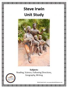 Cover of printable unit study showing title, picture of a statue of the Irwins and the topics covered.