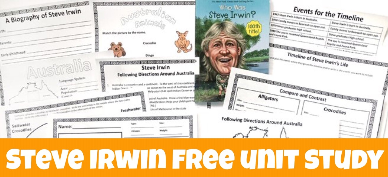 Cover to blog post Steve Irwin FREE Unit Study showing printables and book.