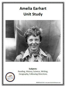 Cover of printable portion of Amelia Earhart FREE Unit Study showing a picture of her and a list of the subjects covered.