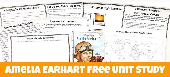 Cover for the post Amelia Earhart FREE Unit Study showing printables and the book Who Was Amelia Earhart?