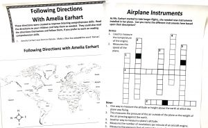 Printed noteboPrinted crossword, map and following directions pages from Amelia Earhart FREE unit study.
